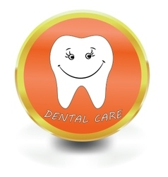 White Tooth Icon dental care vector image vector image