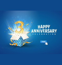 3 rd year anniversary banner with open burst gift vector