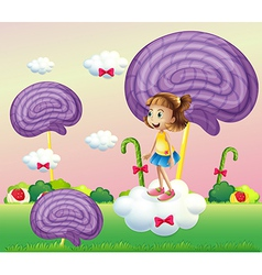 A girl above the cloud surrounded with spiral vector image