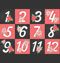 Advent calendar numbers vector