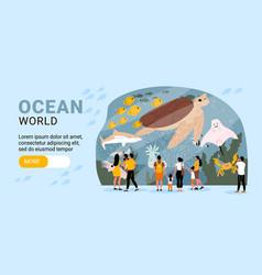 Aquarium flat banner vector