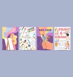 art school or classes posters with characters vector image