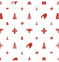 Asphalt icons pattern seamless white background vector