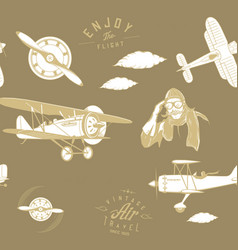 aviation pattern brown seamless monogram retro vector image
