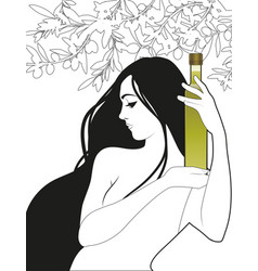 Beautiful girl holding a bottle olive oil vector