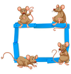 blank sign template with many rats on white vector image