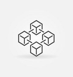 Blockchain icon made with 4 outline cubes vector