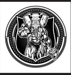 Bodybuilder elephant drawing black amp white on vector