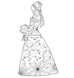 Bride silhouette coloring vector