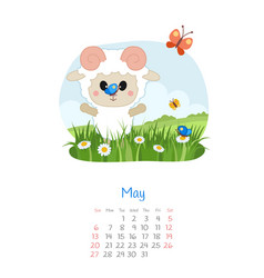 Calendar 2018 months may with sheep vector