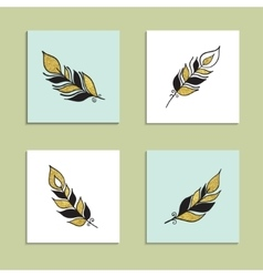 Card Feather Set vector
