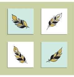 Card feather set vector