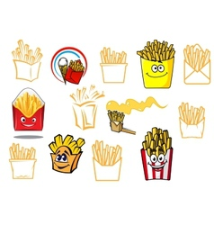Cartoon french fries takeaway food designs vector
