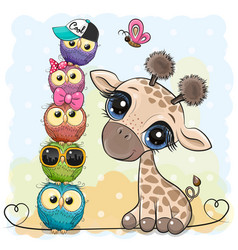 Cartoon giraffe and owls on a blue background vector
