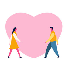 cartoon romantic boy and girl for love and vector image