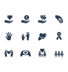 Charity donation and volunteering icon set vector