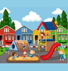 children in colorful playground vector image
