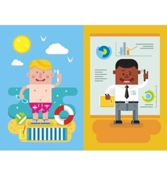 Colleagues calling from vacation to work vector image