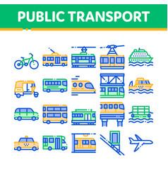 Collection public transport line icons set vector