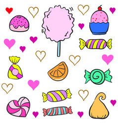 Collection stock of candy various colorful doodles vector