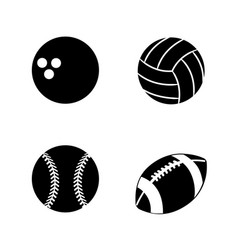 Contour diferents plays balls icon vector