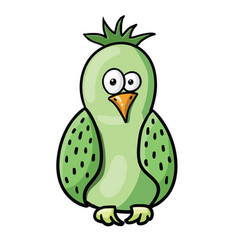 Cute cartoon green bird vector