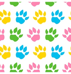 Cute colorful animal paws seamless pattern vector