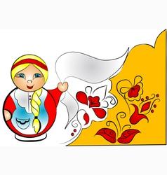 Decorative background with doll matreshka vector