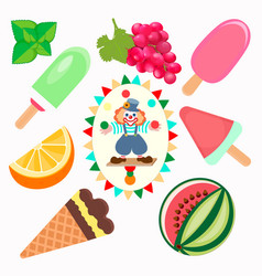 different types of fruit ice cream with a picture vector image