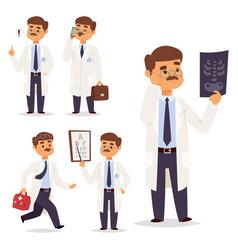 doctor nurse character medical man staff vector image