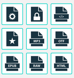 Document icons set collection of shape open type vector