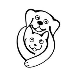 dog and cat hug together with love logo on white vector image