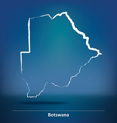 Doodle Map of Botswana vector image