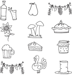 Doodle of thanksgiving vegetable food vector