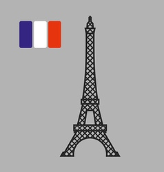 Eiffel Tower Attraction of Paris Fflag of vector image