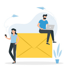 email message concept man with a laptop sits on a vector image