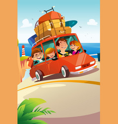 family traveling on a road trip vector image