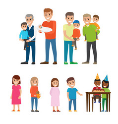 Fathers holding kids on hands and children set vector