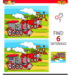 Find differences game with locomotives vector