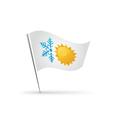 flag snowflake and sun hot cold symbol vector image