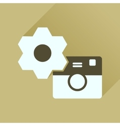 Flat icon with long shadow camera settings vector