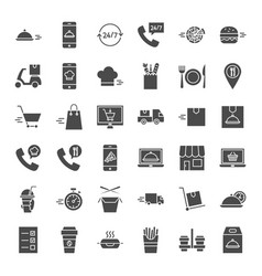 Food delivery solid web icons vector