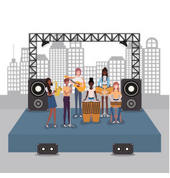 Group women music band playing instruments vector