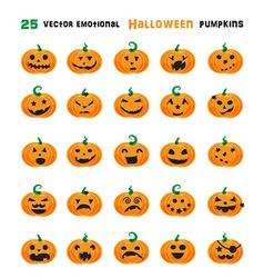 Halloween emotional pumpkins set vector