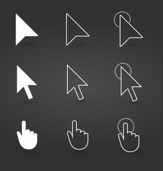hand and arrow cursor icon computer icons vector image
