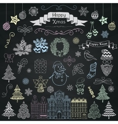 Hand drawn artistic christmas doodle icons on vector