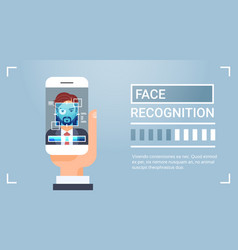Hand hold smart phone scanning male iris face vector