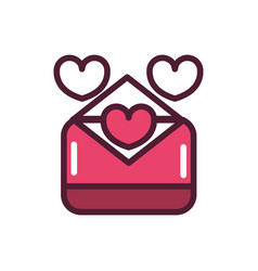 happy valentines day envelope hearts mail love vector image