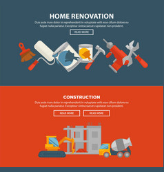 Home renovation and construction web banner vector