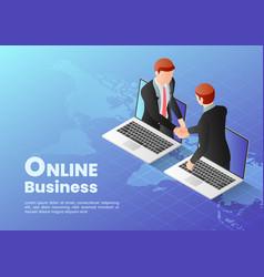 Isometric web banner businessmen having online vector